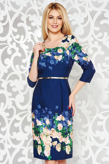 Darkblue elegant pencil dress 3/4 sleeve cloth with floral print accessorized with belt