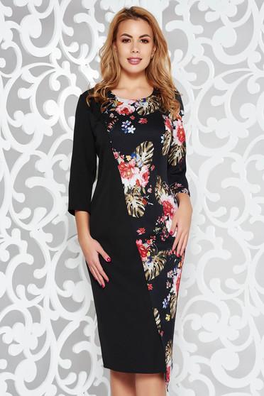 Black elegant midi dress slightly elastic fabric with floral print