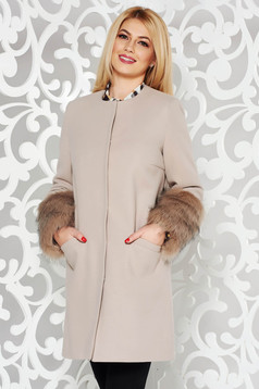 LaDonna cream elegant straight wool coat with faux fur details