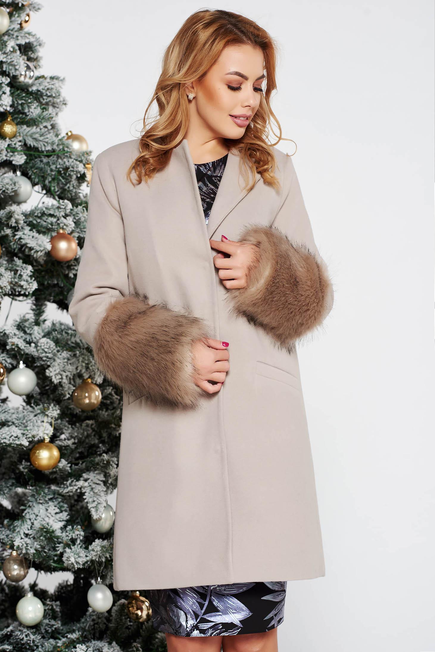 LaDonna cream elegant straight wool coat with faux fur details
