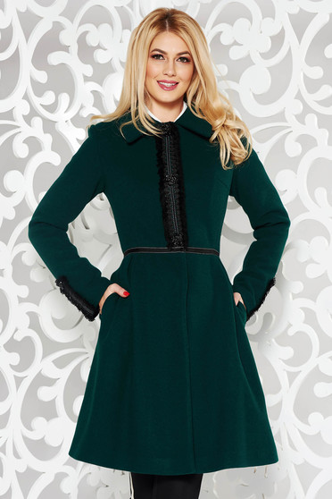 LaDonna green elegant wool coat with embroidery details
