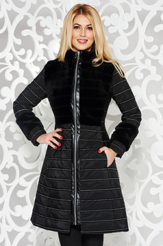 LaDonna black from slicker jacket with bright details flaring cut with pockets