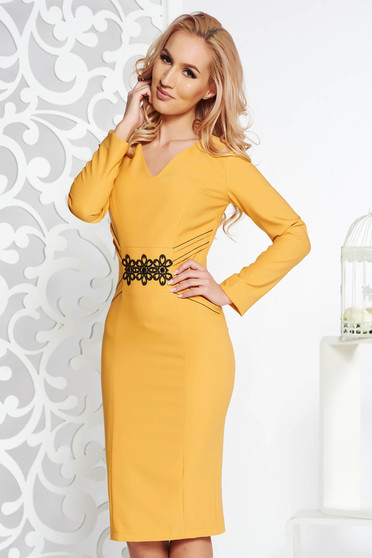 LaDonna mustard elegant pencil dress slightly elastic fabric with embroidery details