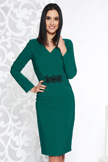 LaDonna green elegant pencil dress slightly elastic fabric with embroidery details