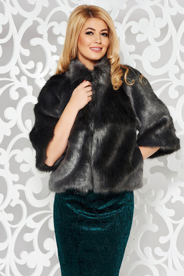 Darkgrey occasional ecological fur with inside lining with easy cut