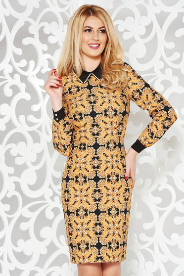 Mustard elegant cloth dress with graphic print detachable collar with pearls