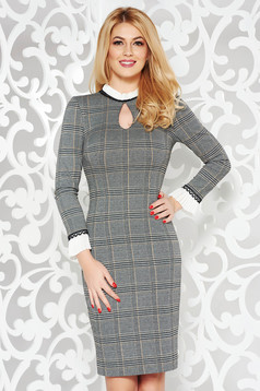 Grey pencil dress with lace details ruffled collar