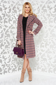 Rosa wool coat arched cut accessorized with tied waistband
