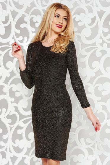Black occasional pencil dress from elastic fabric with glitter details