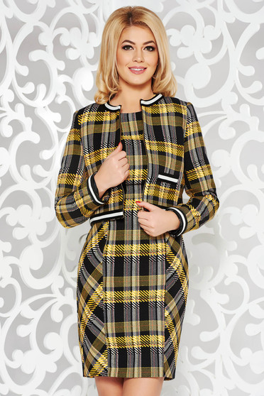 Yellow cotton lady set from thick fabric with chequers