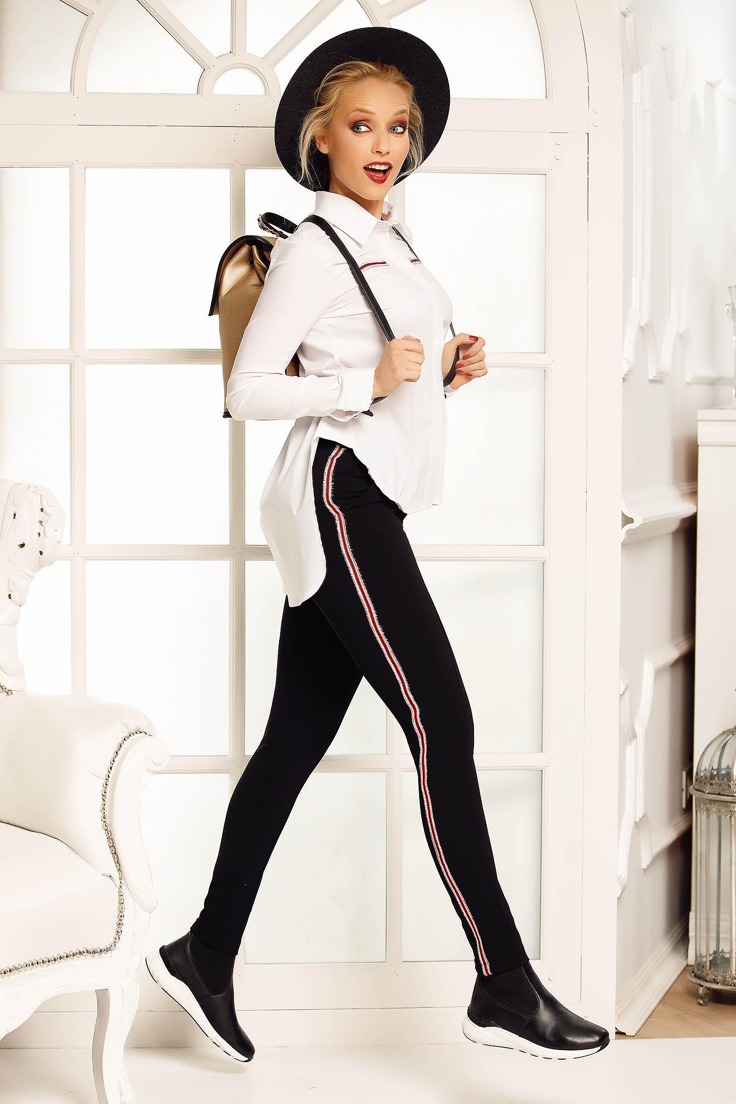 Pantaloni Fofy negri casual conici cu talie medie din stofa usor elastica cu buzunare