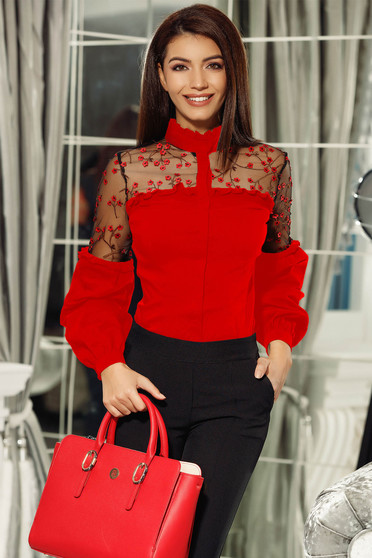 Fofy red women`s shirt elegant slightly elastic cotton with puffed sleeves with floral details with 3d effect