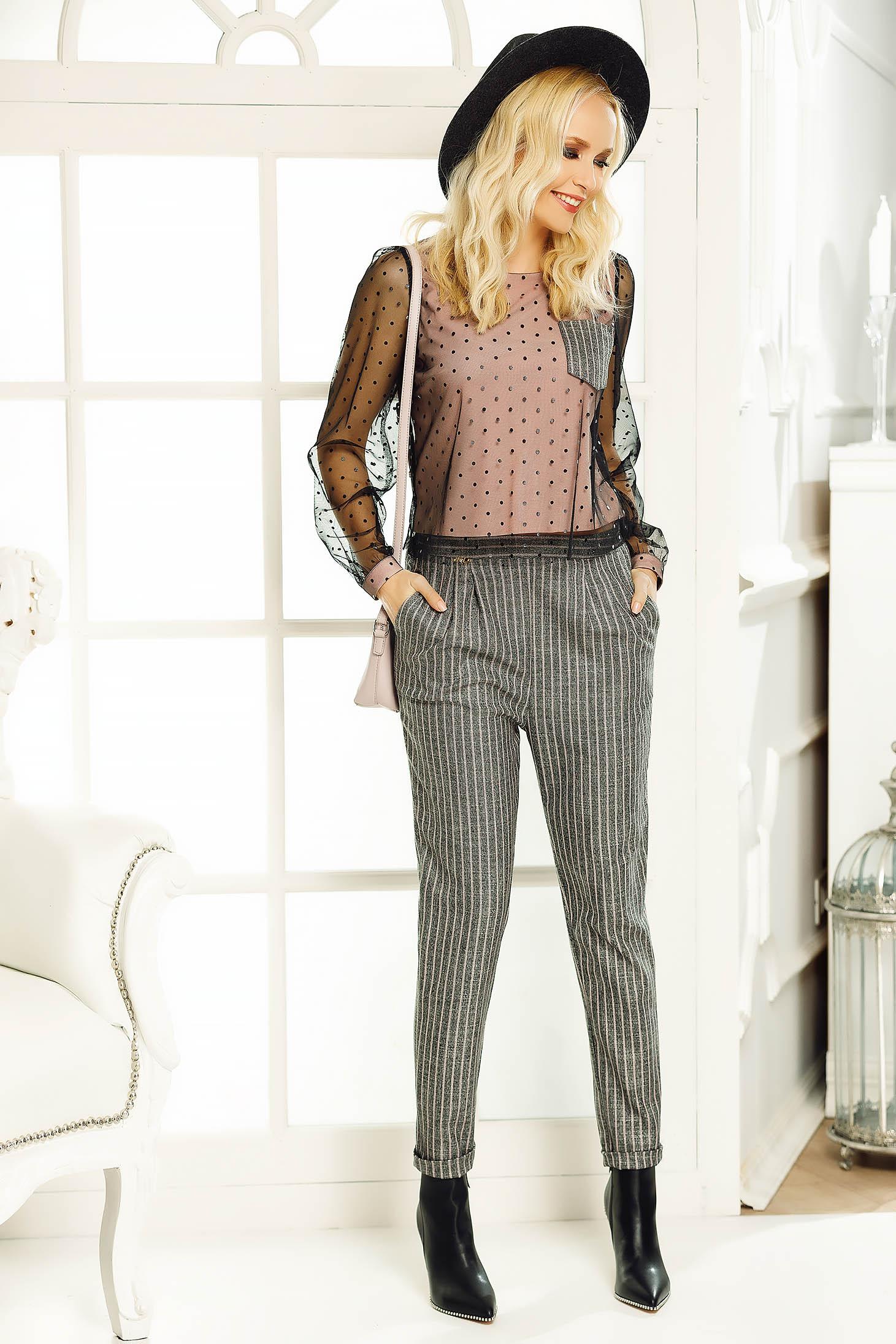 Pantaloni Fofy rosa office conici cu talie inalta din stofa neelastica cu buzunare