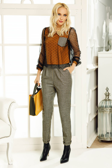 Fofy mustard trousers office conical high waisted from non elastic fabric with pockets