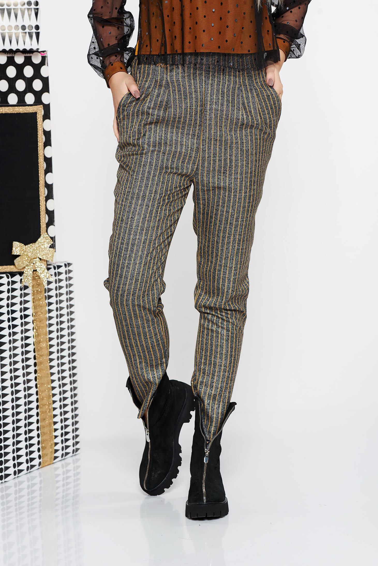 Pantaloni Fofy mustarii office conici cu talie inalta din stofa neelastica cu buzunare
