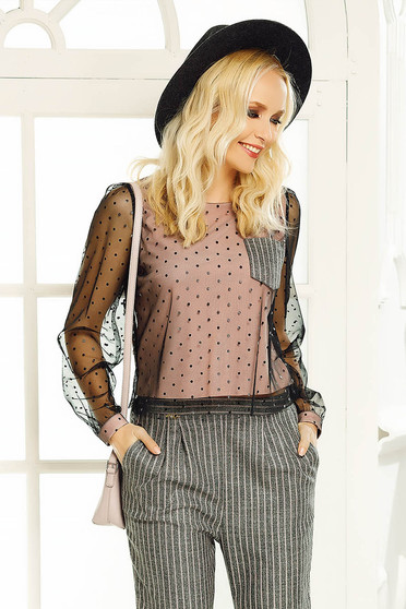 Fofy rosa women`s blouse casual from tulle with inside lining flared