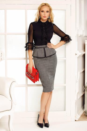 Fofy black skirt office midi pencil from non elastic fabric with frilled waist high waisted