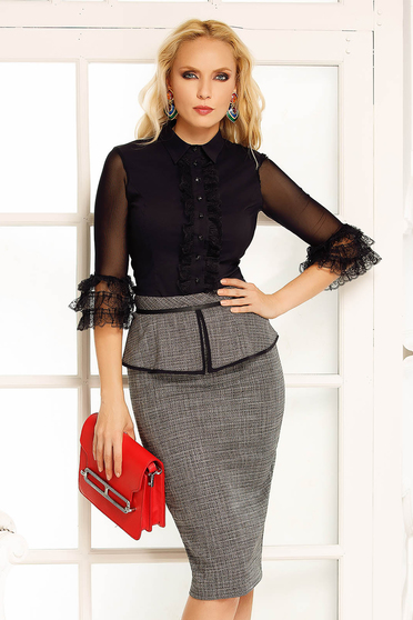 Fofy black office midi pencil skirt from non elastic fabric with frilled waist high waisted
