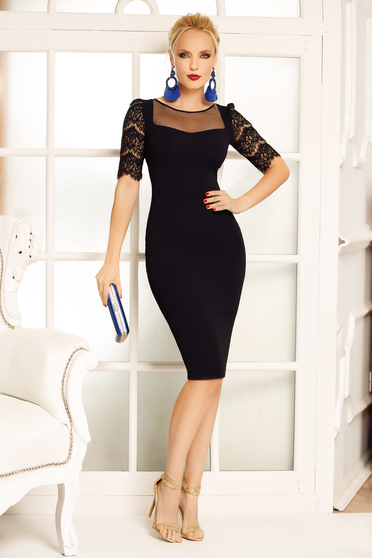 Fofy black elegant pencil dress slightly elastic fabric with laced sleeves