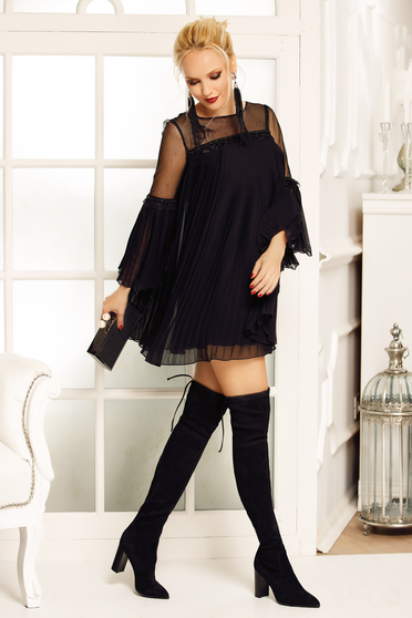Fofy black occasional folded up flared dress from veil fabric with inside lining with bell sleeve