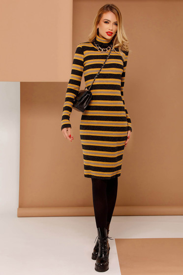 PrettyGirl mustard casual dress with tented cut knitted fabric long sleeved