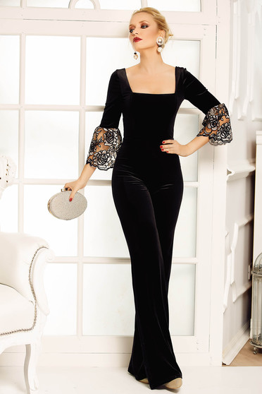 Fofy black occasional jumpsuit flaring cut velvet with bell sleeve