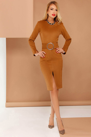 PrettyGirl brown elegant pencil dress accessorized with tied waistband from velvet fabric