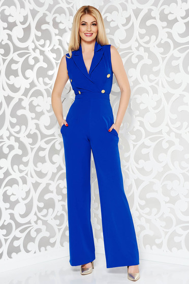 Ocassion blue jumpsuit elegant flexible thin fabric/cloth with button accessories with tented cut