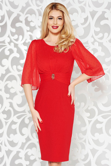Red occasional dress shimmery metallic fabric with tented cut with small beads embellished details