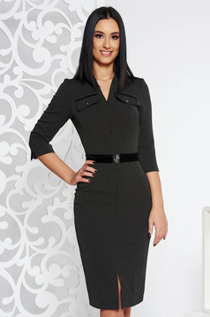 Black office pencil dress from elastic fabric accessorized with tied waistband