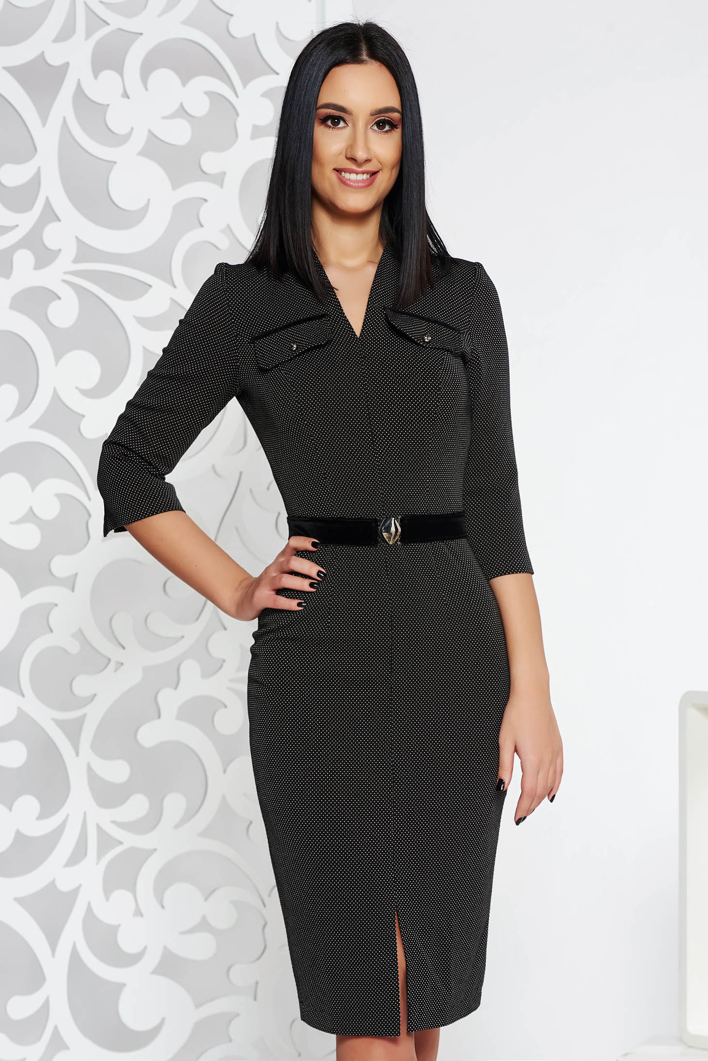 Rochie neagra office tip creion din material elastic accesorizata cu cordon