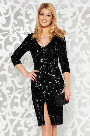 StarShinerS black dress with sequins with inside lining occasional pencil from velvet