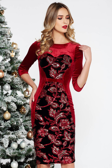 StarShinerS red occasional velvet dress with sequins with inside lining with tented cut