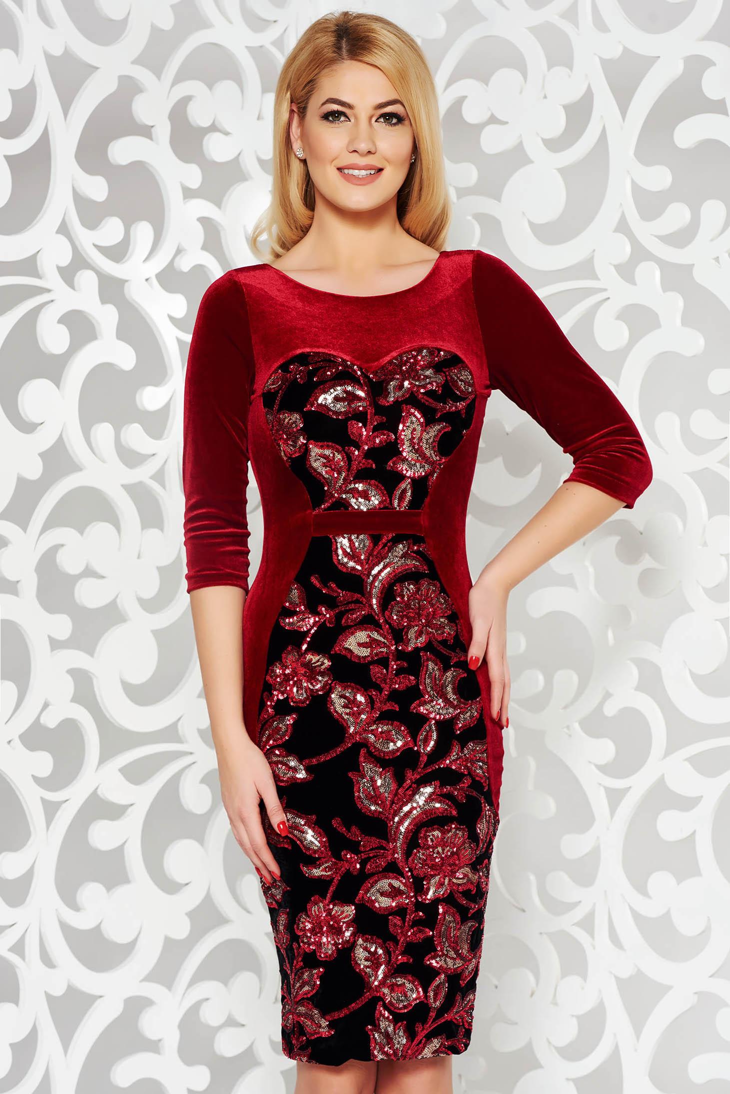 Piros StarShinerS alkalmi bársony flitter ruha belső béléssel szűk szabás