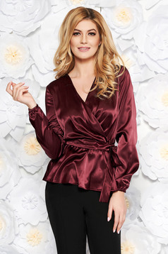 StarShinerS burgundy elegant flared women`s blouse from satin fabric texture accessorized with tied waistband with v-neckline