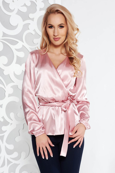 StarShinerS rosa elegant flared women`s blouse from satin fabric texture accessorized with tied waistband with v-neckline