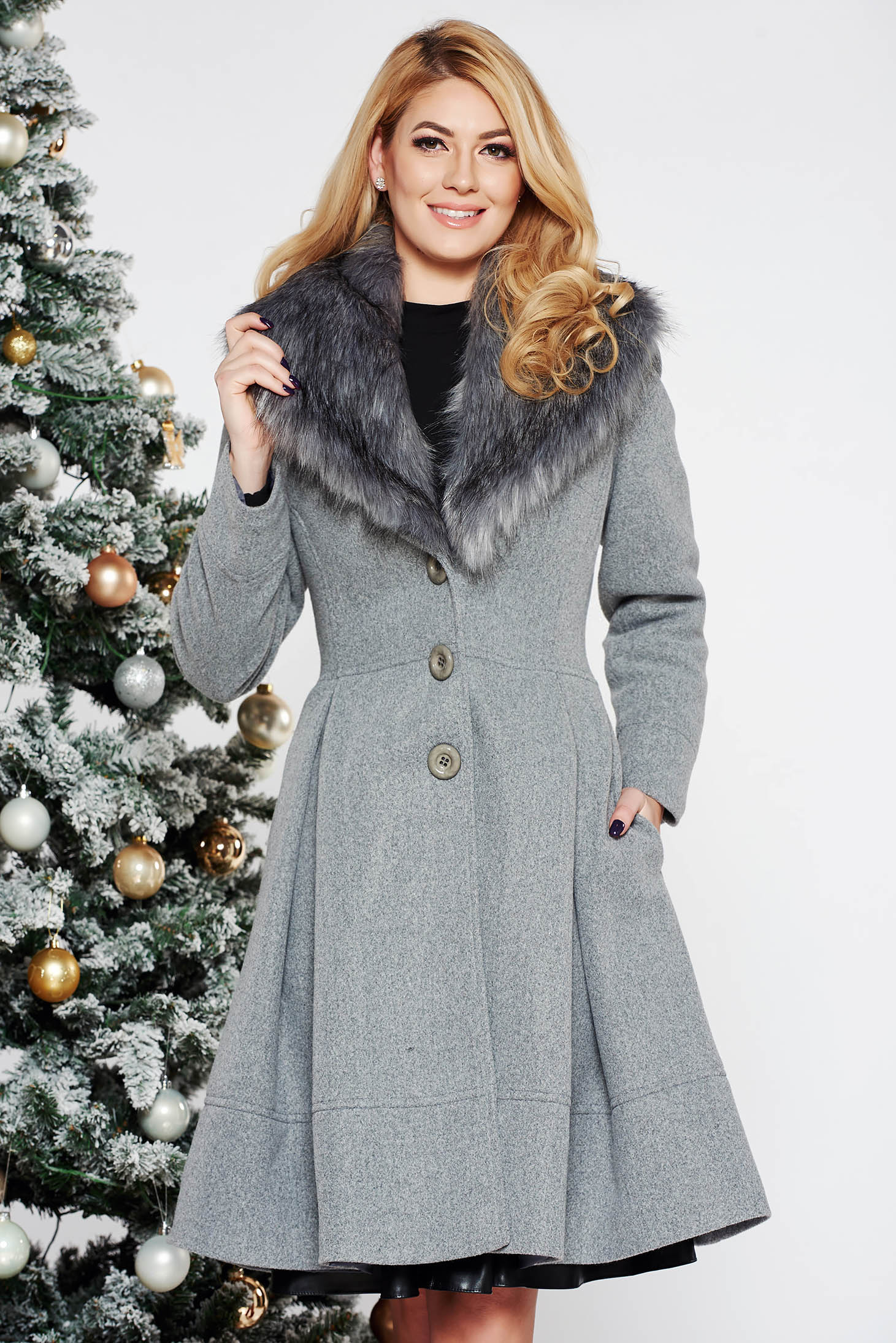 LaDonna grey elegant cloche coat from wool with detachable faux fur insertions