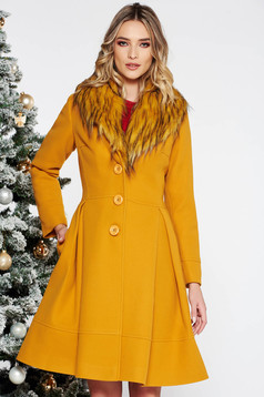 LaDonna mustard elegant cloche coat from wool with detachable faux fur insertions