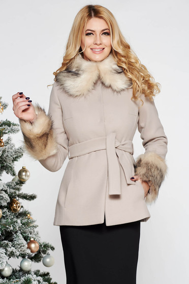LaDonna cream elegant short cut flared wool coat with inside lining accessorized with tied waistband