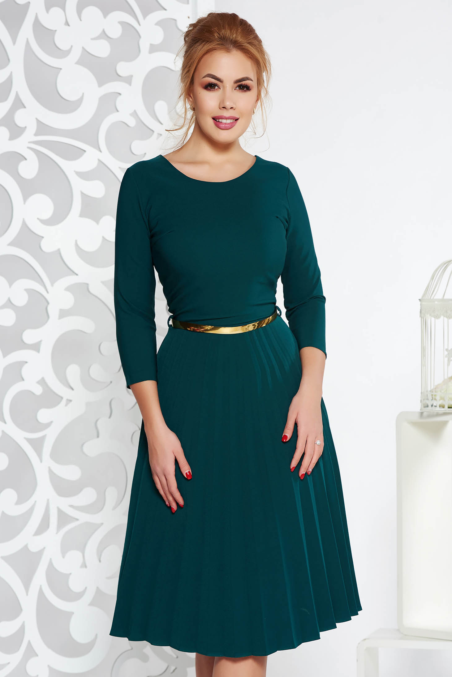 Darkgreen elegant folded up cloche dress flexible thin fabric/cloth accessorized with belt