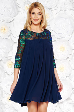 StarShinerS darkblue dress occasional flared from veil fabric with inside lining with sequin embellished details