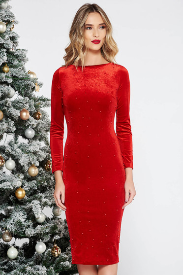 Artista red occasional midi from velvet dress with tented cut with small beads embellished details