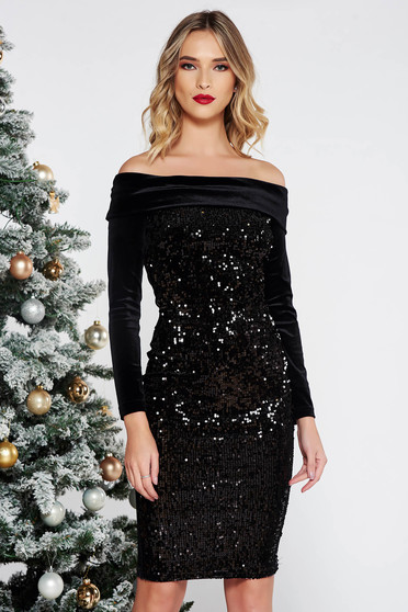 Artista black occasional dress with tented cut from velvet with sequins on the shoulders
