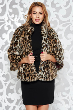 Brown animal print ecological fur with easy cut with inside lining
