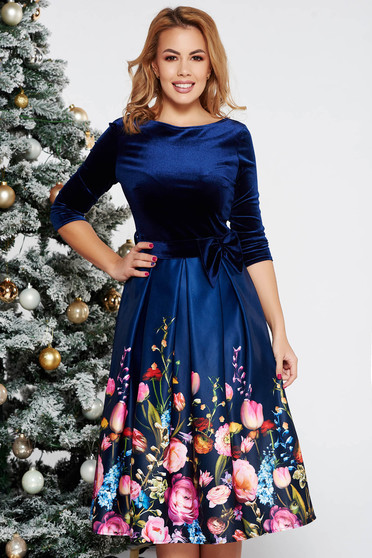 Darkblue occasional midi velvet cloche dress from satin fabric texture skirt accessorized with tied waistband