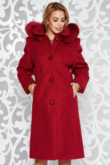 Red elegant from wool coat with straight cut with inside lining detachable hood