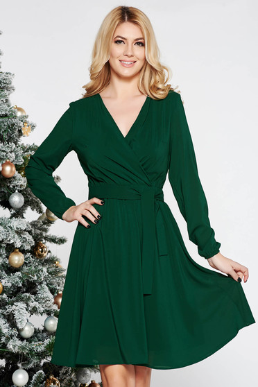 StarShinerS green elegant cloche dress from veil fabric with elastic waist accessorized with tied waistband with inside lining