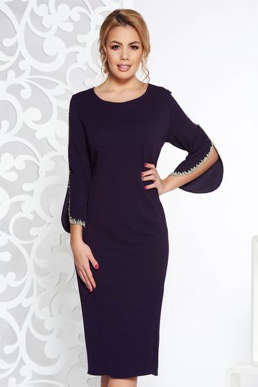 Purple midi elegant pencil dress from elastic fabric with embroidery details