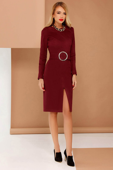 PrettyGirl burgundy elegant pencil dress accessorized with tied waistband from velvet fabric