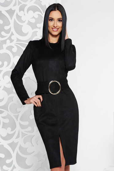 PrettyGirl black elegant pencil dress accessorized with tied waistband from velvet fabric